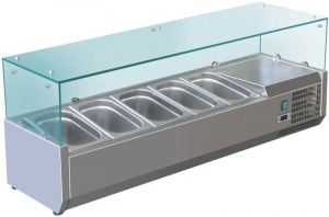 VRX1400-380-FC Vetrina refrigerata inox aisi 201 per bacinelle