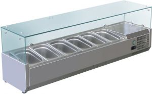 VRX1500-380-FC Vetrina refrigerata inox aisi 201 per bacinelle