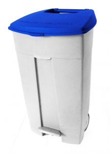 T102035 Contenitore mobile a pedale in plastica bianco-blu 120 litri (confezione da 3 pezzi)