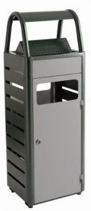 T103010 Papelera con cenicero gris exterior 25+4 litros