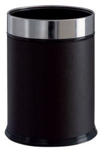 T103050 Gettacarte finta pelle nera fermasacco inox cilindrico 13 litri