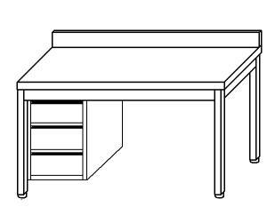 TL5321 Tavolo da lavoro in acciaio inox AISI 304 cassettiera sx alzatina 50x70x85