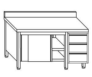 TA4049 Tavolo armadio in acciaio inox con porte su un lato, alzatina e cassettiera DX 140x60x85
