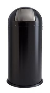 T106033 Gettacarte metallo nero apertura push inox 52 litri