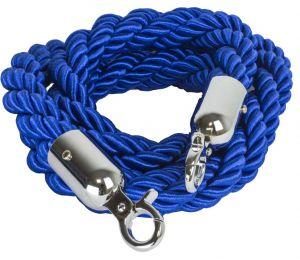 T106320 Cuerda azul 2 mosquetones de fijación cromadas para poste separador 1,5 m
