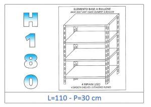 IN-1846911030B Scaffale a 4 ripiani lisci fissaggio a bullone dim cm 110x30x180h