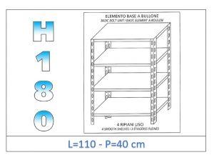 IN-1846911040B Scaffale a 4 ripiani lisci fissaggio a bullone dim cm 110x40x180h