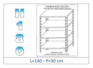 IN-1846914030B Scaffale a 4 ripiani lisci fissaggio a bullone dim cm 140 x30x180h
