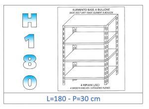 IN-1846918030B Scaffale a 4 ripiani lisci fissaggio a bullone dim cm 180 x30x180h