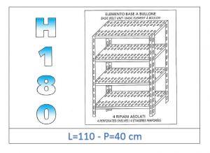 IN-1847011040B Scaffale a 4 ripiani asolati fissaggio a bullone dim cm 110x40x180h