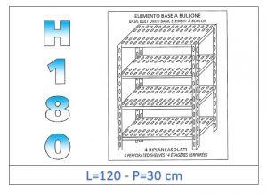 IN-1847012030B Scaffale a 4 ripiani asolati fissaggio a bullone dim cm   120x30x180h