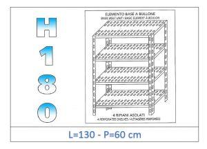 IN-1847013060B Scaffale a 4 ripiani asolati fissaggio a bullone dim cm 130x60x180h