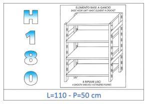 IN-18G46911050B Scaffale a 4 ripiani lisci fissaggio a gancio dim cm 110x50x180h
