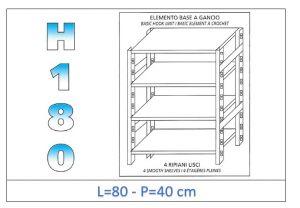 IN-18G4698040B Scaffale a 4 ripiani lisci fissaggio a gancio dim cm 80x40x180h