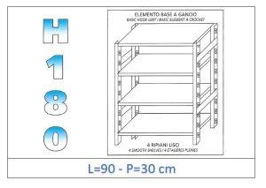 IN-18G4699030B Scaffale a 4 ripiani lisci fissaggio a gancio dim cm 90x30x180h