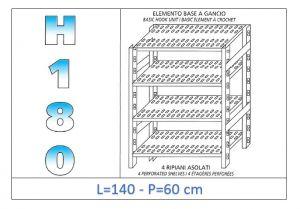IN-18G47014060B Scaffale a 4 ripiani asolati fissaggio a gancio dim cm 140x60x180h