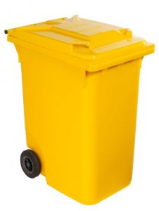 T766631 Yellow Plastic waste container for outdoor on 2 wheels 360 liters