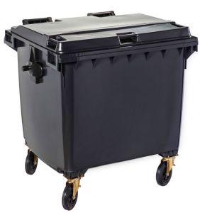 T766660 Contenitore rifiuti da esterno 4 ruote da 1100 litri GRIGIO