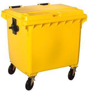 T766661 Contenitore rifiuti da esterno 4 ruote da 1100 litri GIALLO
