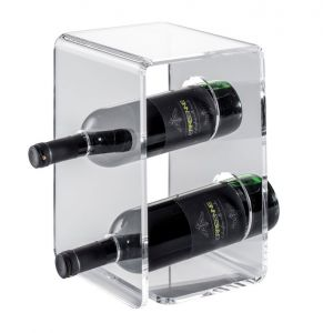 EV00401 TWO - Espositore vino in plexiglass per bottiglie ø 8,2 cm