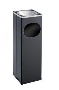 T790002 Square Ashbin Black steel/s.steel 15 liters