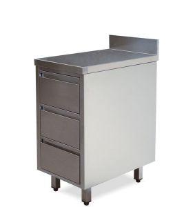 CA3004 Cassettiera in acciaio inox 3 cassetti con alzatina 40x70x85