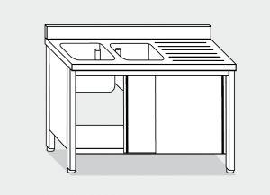 LT1012 Lavatoio su Armadio in acciaio inox 2 vasche 1 sgocciolatoio dx alzatina 140x60x85