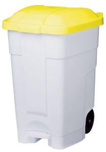 T102046 Contenitore mobile a pedale plastica bianco-giallo 70 litri (multipli 3 pz)