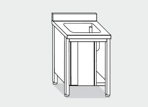 EU01600-08 lavatoio armadio ECO cm 80x60x85h  1 vasca - porte scorrevoli
