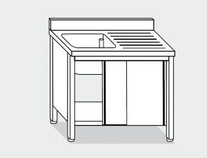 EU01601-14 lavatoio armadio ECO cm 140x60x85h  1 vasca e sg dx - porte scorrevoli