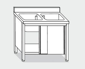 EU01610-13 lavatoio armadio ECO cm 130x60x85h  2 vasche - porte scorrevoli