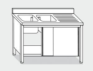 EU01611-16 lavatoio armadio ECO cm 160x60x85h  2 vasche e sg dx - porte scorrevoli