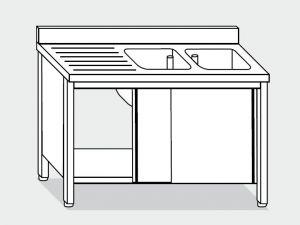 EU01612-18 lavatoio armadio ECO cm 180x60x85h  2 vasche e sg sx - porte scorrevoli
