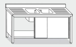 EU01713-19 lavatoio armadio ECO cm 190x70x85h  2 vasche e 2 sgocciolatoi - porte scorrevoli