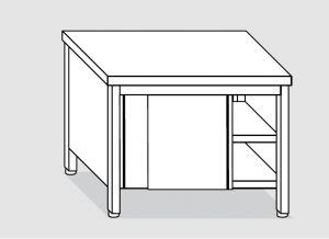 EU03200-13 tavolo armadio ECO cm 130x60x85h  piano liscio - porte scorrevoli