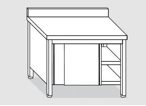 EU03301-19 tavolo armadio ECO cm 190x70x85h  piano alzatina - porte scorrevoli
