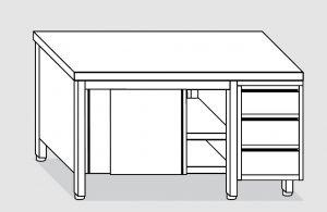EU04001-20 tavolo armadio ECO cm 200x60x85h  piano liscio - porte scorr - cass 3c dx