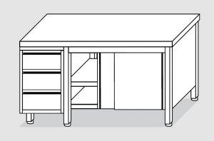 EU04002-17 tavolo armadio ECO cm 170x60x85h  piano liscio - porte scorr - cass 3c sx