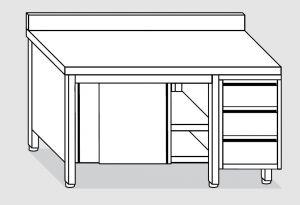 EU04003-17 tavolo armadio ECO cm 170x60x85h  piano alzatina - porte scorr - cass 3c dx