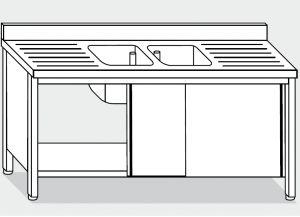 LT1023 Lavatoio su Armadio in acciaio inox 2 vasche 2 sgocciolatoi alzatina 200x60x85