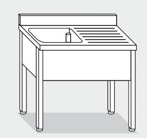 LT1060 Lavatoio su Gambe in acciaio inox 1 vasca 1 sgocciolatoio dx alzatina 120x60x85