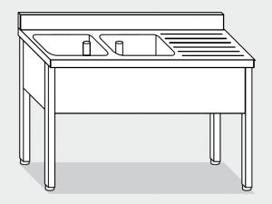 LT1072 Lavatoio su Gambe in acciaio inox 2 vasche 1 sgocciolatoio alzatina 160x60x85