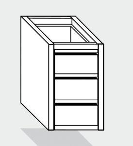 EUG2090-47 cassettiera ECO e40 con 3 cassetti cm 40x70x59hsotto tavolo guide inox semplici