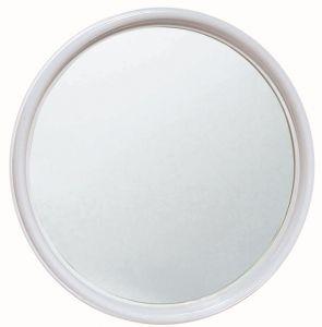 T150005 Specchio in vetro rotondo con cornice ABS bianca diametro 50 cm