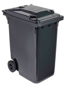 T766630 Grey Plastic waste container for outdoor on 2 wheels 360 liters