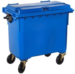 T766642 Blue Plastic waste container for outdoor on 4 wheels 660 liters