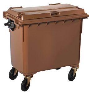 T766644 Brown Plastic waste container for outdoor on 4 wheels 660 liters