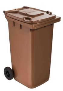 T766624 Brown Plastic waste container for outdoor on 2 wheels 240 liters
