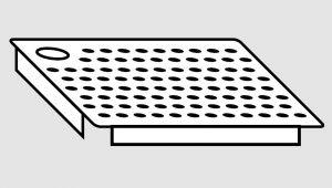 EU91101-04 Falsofondo in acciaio inox forato foro a Destra dim. Cm 50x40