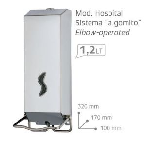 T105038 Distributore di sapone acciaio inox AISI 304 brillante HOSPITAL a gomito 1,2 litri